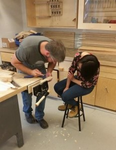 Sandra pays close attention in her carpentry class at Algonquin College.